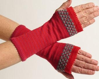 Merino Wool Wrist Warmer Fingerless Gloves, Red, Long