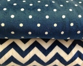 Navy Blue Chevron Stripes and Polka Dot Stroller Blanket - Personalization Available
