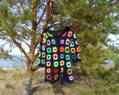 Crochet granny square black multicolour hippie boho coat jacket cardigan OOAK