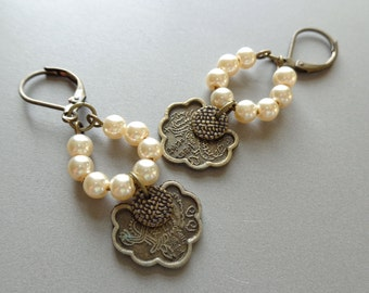 Modern Assemblage Victorian Charm Pearl Earrings