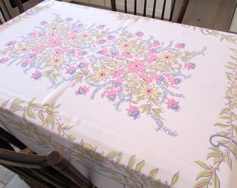 Vintage Lilac and Pink Floral Bouquet Cotton Table Cloth