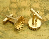 10 pcs Gold Cuff Link Blanks with Round 15mm Settings CH2168