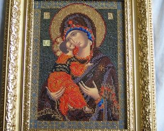 Hand Made Vladimir Mother of God Beaded Embroidery Icon