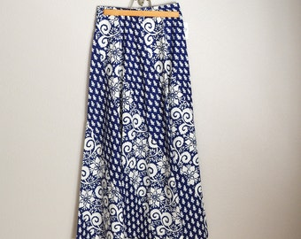 Vintage 70s LANZ Blue White Maxi Long Skirt // new with tags // womens small