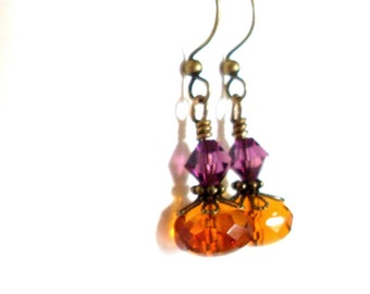 Crystal glass bead earrings, purple amber brown, antiqued brass, Czech crystal, Austrian crystal, Topaz colored, glass bead jewelry