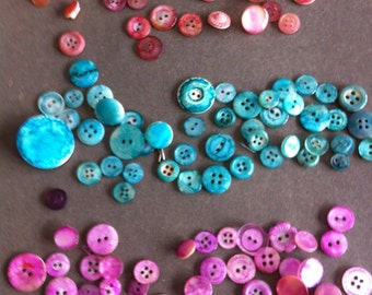 Alcohol Inked Pinks BLUE Aqua & Reddish Orange Hand Dyed Buttons Plastic and Mother of Pearl Buttons Lot of over 130 Great for Scrapbooking