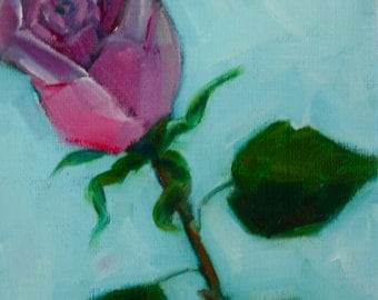 Rose Painting - Original Oil - Flower still life - floral painting - pink rose bud painting- turquoise and pink - fine art painting