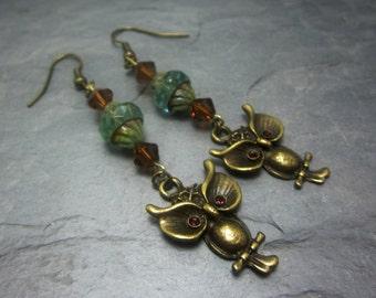 Owl Earrings Brown Gem Eyes Czech Turbine Beads Swarovski Bicones Dangle