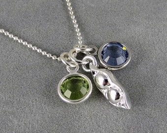 Two Peas in a Pod Necklace - Swarovski Birthstones - Silver - Custom Necklace - Two Birthstones - Family - Gift Idea Mom, Grandma