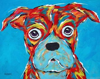 Boxer Dog Art Print by Angela Alexander - Title: I'm Still A Good Dog, Vibrant Colors, Funny Dog