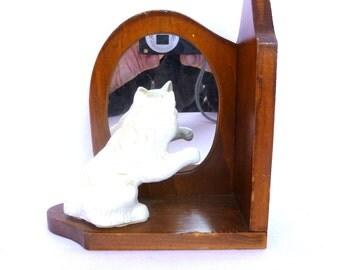 UNIQUE Vintage KITTY DECOR/ White Kitty Corner Mirror