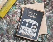 Follow Your Heart, A6 Screenprinted Blank Greeting Card