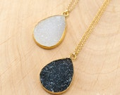 Drury Necklace - Layered Necklaces - Tear Drop Gemstone Pendant - Gold Framed Stone Pendant - Gold Necklace - Bridesmaid Jewelry