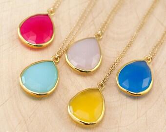 Layered Necklaces - Tear Drop Gemstone Pendant - Gold Framed Stone Pendant - Gold Necklace - Layering Jewelry - Bridesmaid Jewelry