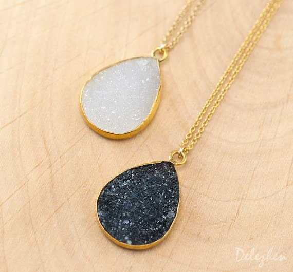 Drury Necklace - Layered Necklaces - Tear Drop Gemstone Pendant - Gold Framed Stone Pendant - Gold Necklace - Bridesmaid Jewelry