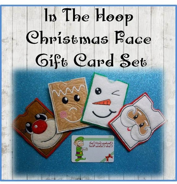 in the hoop christmas faces gift card embroidery machine design set from newfoundapplique on