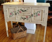 Sale Vintage Shabby Chic Cottage Pale Yellow Buffet Sideboard w/ Hand Painted Roses