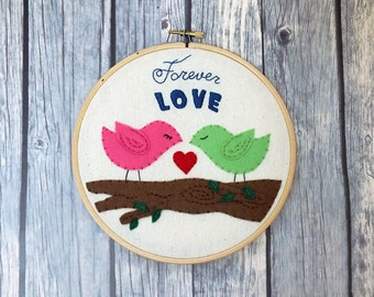 Embroidery hoop art – love birds, forever love, wedding decoration, memento, keepsake, customized personalized wedding gift made to order