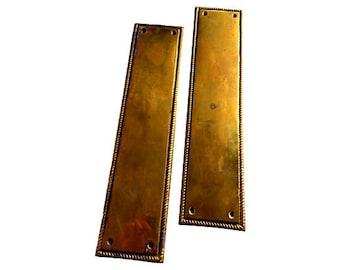 Antique Pair Brass Door Push Plates