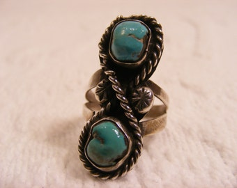 Double Turquoise Nugget Long Ring, Statement Ring, Native American Ring