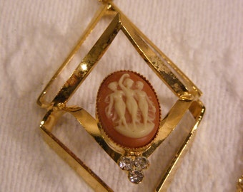 Vintage Cameo Rhinestone Pendant on Double Strand Gold Tone Chain, Necklace in Original Box