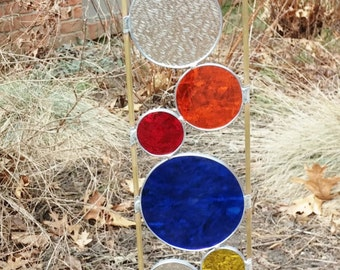 Stained glass garden art stake primary colors blue outdoor yard decoration modern garden art sculpture