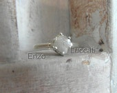 Snow white-Raw Rough Diamond - Solitaire- promise-alternative engagement ring