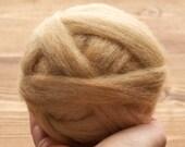 Sandstone Wool Roving for Needle Felting, Wet Felting, Spinning, Dyed Felting Wool, Camel, Tan, Beige, Fiber Art Supplies