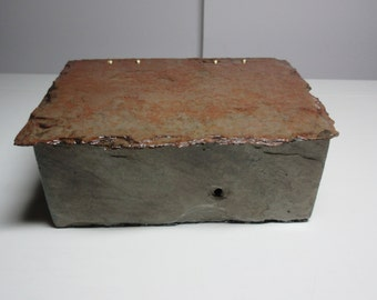 Slate box with hinged lid, beautiful colors made from recycled 60 year old slate. # ML-29