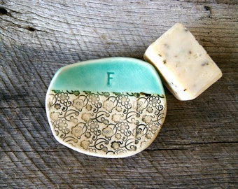 Personalized Soap Dish, Handmade Pottery, MADE TO ORDER, by RiverStone Pottery