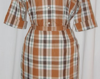 vintage 2 piece dress, 50s 60s, plaid suit, wiggle skirt, tailored shirt,mix and match, pencil skirt, button front shirt