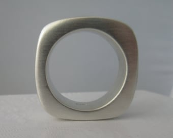 Silver ring Square Ring statement wedding band Chunky silver square ring organic look