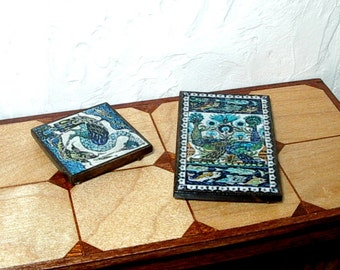 Birds & Fish Trivets, Set of 2, Tudor Dollhouse Miniature, 1/12 Scale, Hand Made