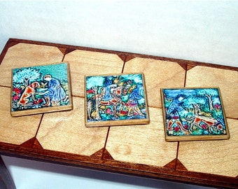 Village Life Trivets, Medieval Dollhouse Miniatures 1/12 Scale, Hand Made