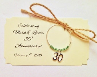 """1 to 50 Quantity """"Thirty"""" Personalized Wine charms. Perfect for 30th birthday favors, 30th anniversary favors, etc Customized for your event"""