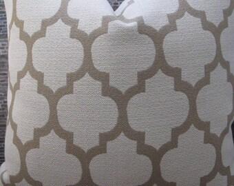 Designer Pillow Cover Lumbar, 16 x 16, 18 x 18, 20 x 20, 22 x 22, 24 x 24, 26 x 26- Quatrefoil Tan Tex