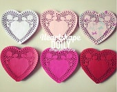 "6"" inches heartshape colored Doily paper for Scrapbooks, card making, wedding decoration / pack"