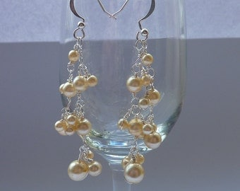 Earrings: clusters of vintage ivory pearls - 'something old'  for bridal or prom wear 50% OFF