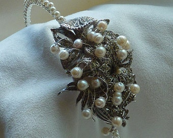 Side Tiara: Stunning Vintage sparkling marcasite settings with freshwater pearls and rhinestones 50% OFF