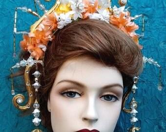 Art Deco Tiara Oriental Chinese Style Evening Theatrical Headdress Hair Accessory Headdress Headpiece Hair Jewelry Crown