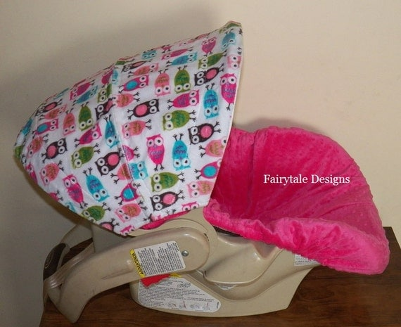 infant car seat cover fuchsia owl minky. Black Bedroom Furniture Sets. Home Design Ideas