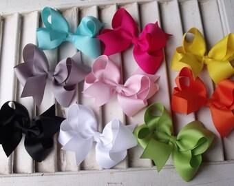Boutique Hair Bows -  Your  Choice of 4  Colors - Grosgrain  Ribbon