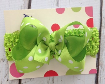 SALE  Lime Green Polka Dot  Hair Bow with Headband - Infant Hair Bow and Headband - Polka Dot Pink Hair Bow