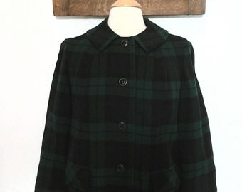 Plaid Pendleton Coat Vintage 70s / 80s Green Wool Coat - L