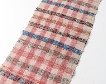 vintage Swedish rag rug, 1920s floor runner, 8 ft