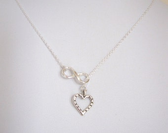 Sterling silver INFINITY ETERNITY HEART lariat necklace, love, friendship necklace
