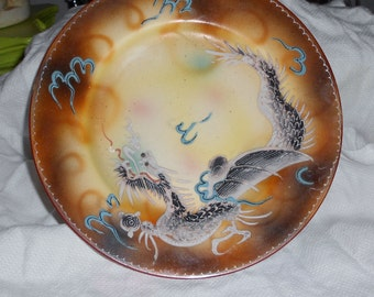 Chinoiserie  Asian vintage moriage Dragonware plate
