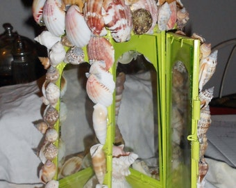 Light house lantren covered with sea shell hand made OOAK