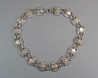 Edwardian Sterling Necklace, Engraveable Flower Necklace, Antique, Forget Me Not, Memento Necklace
