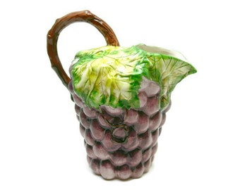 Vintage Majolica Water Pitcher - Made in Portugal - Purple Grapes